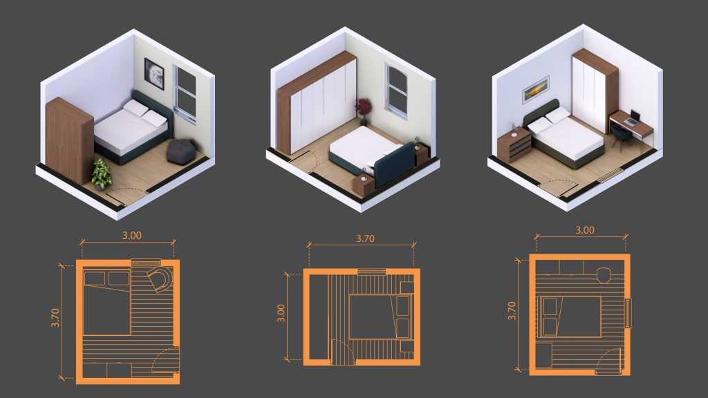 11 squared meters room sizes