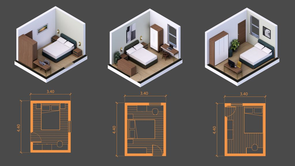 12 squared meters room sizes