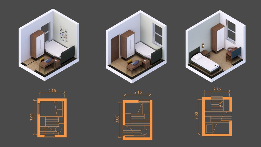 6,5 squared meters room sizes