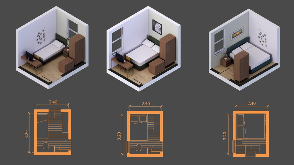 8 squared meters room sizes
