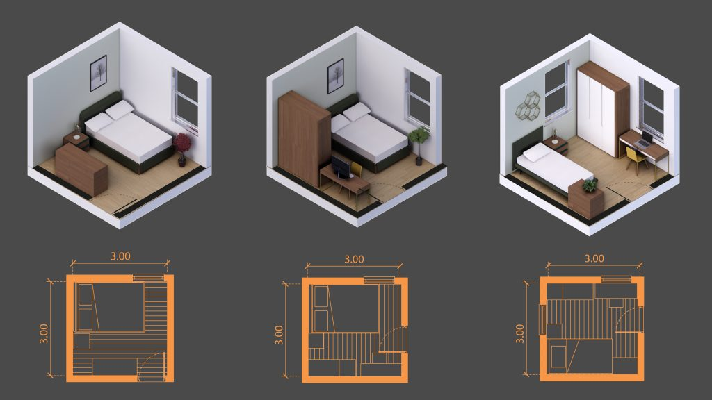 9 squared meters room sizes