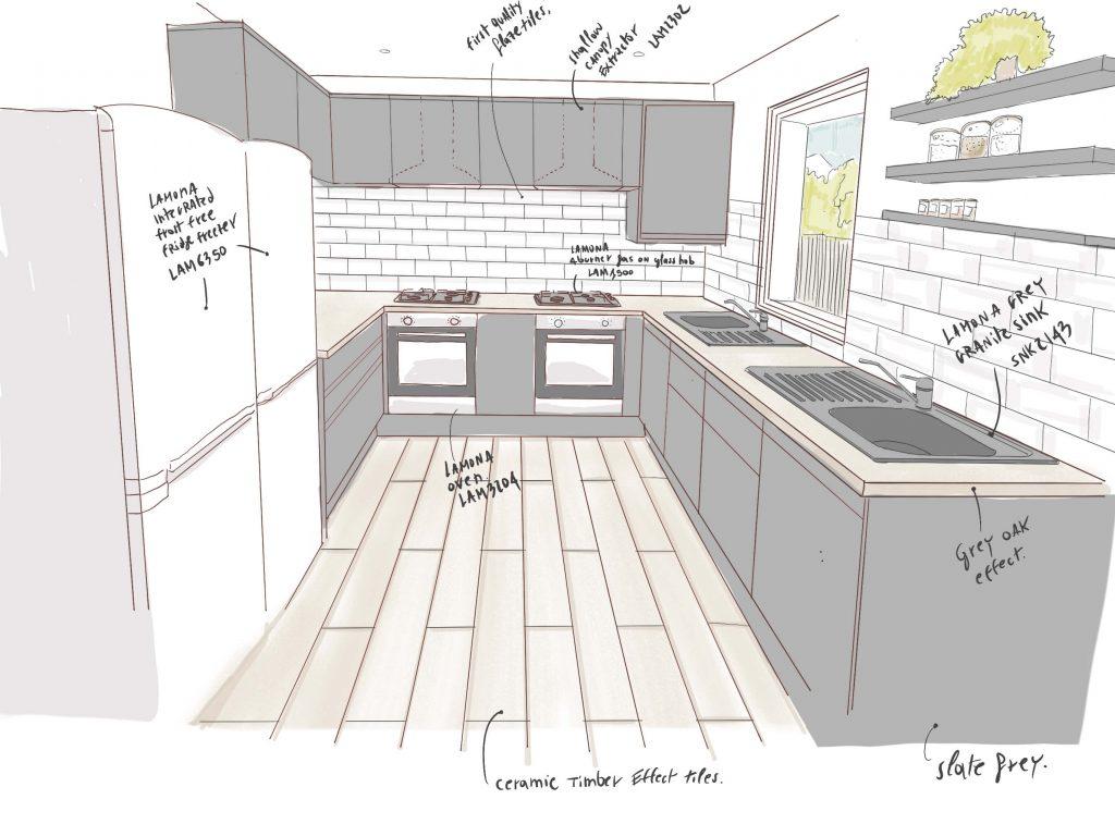HMO Kitchen Drawing